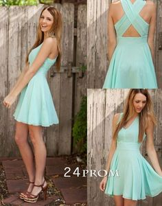 Charming Chiffon V-neck Short Prom Dress, Homecoming Dress