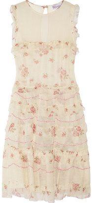 ShopStyle: RED Valentino Tiered cotton-guaze and silk-chiffon dress