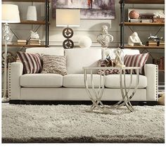 Update the look of your home with ease with this Torrington sofa. Traditional sophistication is lent to the piece, styled with a high back, track arms and nail head detailing. Covered in a white linen, the sofa is the perfect addition to your home. Nailhead Sofa, Contemporary Sofa, Love Seat, Furniture, Sofa Upholstery, Nailhead Trim Sofa, Sofa Inspiration, White Linen Sofa, Home Decor