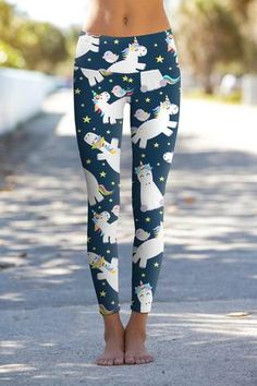 19289f8b63921 Dreamy Unicorn Lucy Navy Printed Leggings Yoga Pants - Women Pineapple  Clothes, Workout Pants,