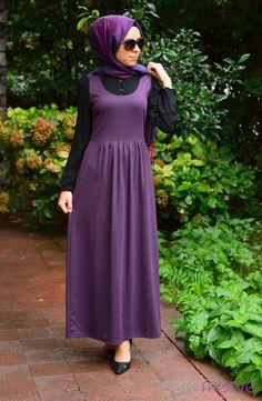 Tesettür Elbise WB 5401-05 Siyah Mürdüm
