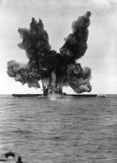 Nazi Submarines of WWII: December 1947: The former German minelaying submarine U-234 is blown up by experimental torpedoes fired from the United States Atlantic Fleet, forty miles northeast of Cape Cod, Massachusetts. (Photo by Keystone/Getty Images)