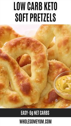 Low Carb Gluten-Free Keto Soft Pretzels Recipe - Learn how to make keto pretzels with this EASY gluten-free soft pretzels recipe These chewy low carb pretzels are made with fathead dough and yeast wholesomeyum lowcarb snack easy pretzels Low Carb Desserts, Low Carb Recipes, Diet Recipes, Snack Recipes, Healthy Recipes, Bread Recipes, Egg Recipes, Dessert Recipes, Supper Recipes