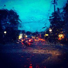 Main Street Rain Through Windshield