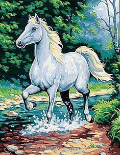 Margot canevas cheval blanc dans le ruisseau Art Drawings For Kids, Horse Drawings, Animal Drawings, Indian Art Paintings, Animal Paintings, Equine Art, Horse Art, Watercolor Paintings, Canvas Art
