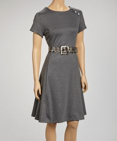 Take a look at this Joy Mark Charcoal Gray Belted Short-Sleeve Dress on zulily today!
