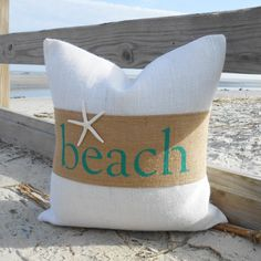 Beach burlap & starfish pillow cover by LowCountryHome, Etsy