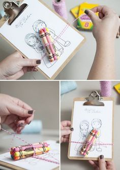 DIY: Make these darling 'mini-clipboard coloring favors' for your young wedding guest Kids Table Wedding, Wedding Favors For Guests, Wedding With Kids, Trendy Wedding, Wedding Gifts, Dream Wedding, Wedding Day, Wedding Reception, Diy Wedding Souvenirs
