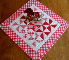Quilted Table Runner Topper Retro Pinwheels by ForgetMeNotQuilteds