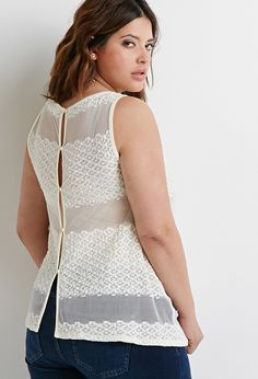 So pretty! Plus Size FOREVER 21+ Embroidered Mesh Striped Tank