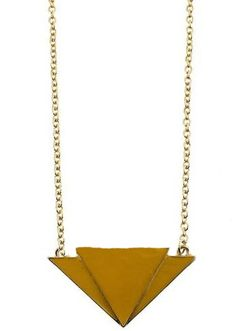 Yellow Triangle Gold Long Chain Necklace
