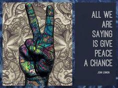 Give Peace a chance. Jhon Lennon, Give Peace A Chance, Hippie Love, Peace Signs, Peace And Love, Fun Stuff, Colour, Peace Symbols