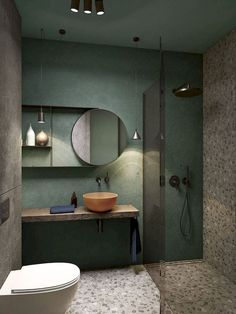 a creative small bathroom with a green wall, terrazzo flooring and wall, a wooden floating vanity and a coral bowl sink You are in the right place about rectangular bathroom mirror H Bathroom Design Inspiration, Bad Inspiration, Design Ideas, Design Trends, Bathroom Lighting Inspiration, Bathroom Design Luxury, Bathroom Design Small, Bath Design, Bathroom Designs