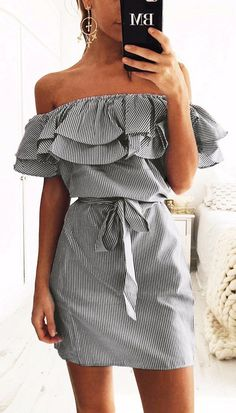off-shoulder stripped dress. the cutest thing your closet need