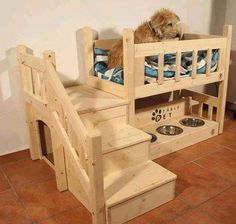 Little wooden two-storey doghouse and its owner a cute little shaggy dog
