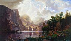 """""""Trappers of Men"""", Kent Monkman, 2006. Reprise truffée de clins d'œil d'""""Among the Sierra Nevada"""", Albert Bierstadt, 1868. Au centre le personnage central, Miss Chief, est l'avatar de l'artiste, reprenant ici la gestuelle de Vénus ou de Jésus-Christ. Des artistes comme Pollock et Mondrian piquent-niquent sur le rivage."""
