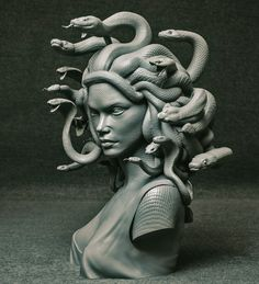 Medusa sculpted for a commmission Medusa Kunst, Medusa Art, Medusa Gorgon, Medusa Tattoo Design, Greek Mythology Tattoos, Greek Mythology Art, Ancient Greek Sculpture, Greek Statues, Ancient Art