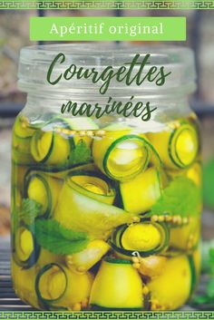 Prepare delicious marinated zucchini for an aperitif! Source by corabeufelise Antipasto, Chutney, Fingers Food, Cooking Recipes, Healthy Recipes, Appetisers, Food Videos, Brunch, Food And Drink