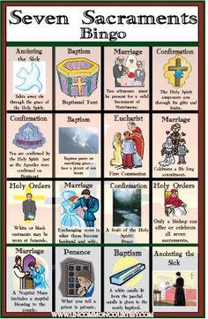 Seven Sacraments Bingo Game . links to bingo for every Catholic Topic! Ccd Activities, Religion Activities, Teaching Religion, Religion Catolica, Catholic Religion, Library Activities, Easter Activities, Catholic Saints, Catholic Schools Week