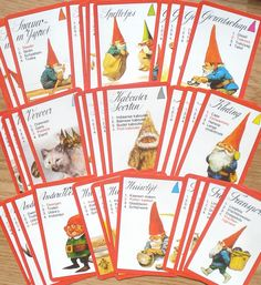 Vintage kwartetkaarten, Rien Poortvliet, Kabouters, 10 x 6,5 cm, 36 stuks, '70s, hobbymateriaal, spelonderdelen by…