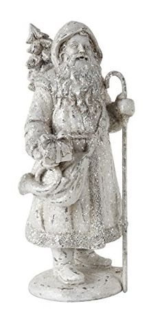 Resin White Glitter Santa Claus with Shepherds Hook - Size 6.75 Inches >>> Check out this great product.