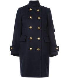 Sacai: Navy Peacoat With Inner Vest
