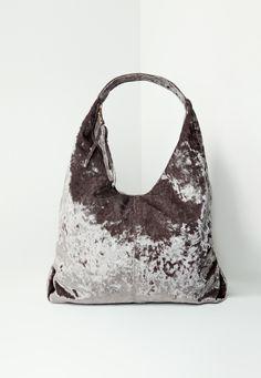 Missguided - Grey Velvet Slouch Tote Bag