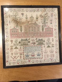 Notable 1798 Georgian sampler by Elisabeth Boyd, featuring Georgian house design and beautifully styled flower bouquets, monogram details and decorative motifs. In original frame with retaped backing. | eBay!