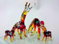 GIRAFFE FAMILY HAND PAINT ORANGE BLOWN GLASS ART FIGURINE DECOR COLLECTION/GIFT