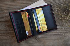 Handgefertigte Leder Brieftasche schwarze von JKLeatherWorkshop