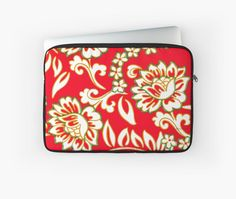 Tropical Eggnog Punch Laptop Sleeve by PolkaDotStudio, #new #vintage #retro influenced #tropical #aloha #Hawaiian #floral in #holiday #red #green #gold #art on #fashion #tech #accessory #laptop #sleeves for #designer #protection for #travel #office #school or perfect holiday #gift.