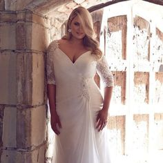 Cheap plus size wedding dress, Buy Quality size wedding dresses directly from China wedding dress 2016 Suppliers: Informal Chiffon Plus Size Wedding Dresses 2016 Half Sleeves V Neck Ruched Full Figure Bridal Gowns Big large Size Wedding Dress Handmade Wedding Dresses, 2016 Wedding Dresses, Wedding Dresses Plus Size, Plus Size Wedding, Cheap Wedding Dress, Bridal Dresses, Dresses 2016, Full Figure Wedding Dress, Beautiful Bridesmaid Dresses