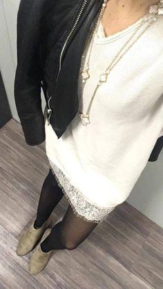 My Friday Mood - Nuisette Beige Ma Bohème - Pull robe beige Ma Bohème - Chaussure daim Zalando - Veste en Cuir noir Zara - Collier Van Cleef and Arpels. Bell Sleeves, Bell Sleeve Top, New Outfits, Zara, Friday, Beige, Fashion, Leather Jackets, Black Leather