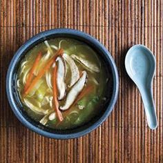 This healthy, Japanese-inspired chicken noodle soup recipe is made with udon noodles and gets a hit of umami flavor from a swirl of miso at the end.