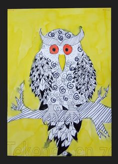 Made by Elaine, 12 years old You need: white drawing sheet size black markers in different sizes yellow or orange marker liquid watercol. Birds For Kids, Owl Kids, Art For Kids, Animal Art Projects, Cool Art Projects, Owl Art, Bird Art, Children Sketch, Drawing Sheet