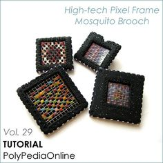 PolyPedia E-Book Vol 29 - Polymer Clay Tutorial Mosquito Pixel Frame Brooch - 12 pages TUTORIAL Plus VIDEO by Iris Mishly