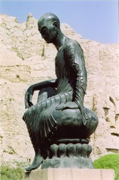 Awesome This statue of Kumarajiva rests below the cliffs and Buddhist caves at Kizil near to where he was born in Kuche Western China