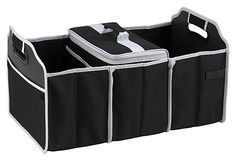 Trunk Organizer and Cooler, Black on OneKingsLane.com  Durable and versatile, this three-section trunk organizer features a removable, leak-proof Thermal Shield-insulated cooler. Great for keeping sports gear, cleaning supplies, and groceries in check, the organizer has a mesh pocket for maps and folds up when not in use. Designed in the USA.
