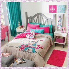 New-Girls-Gray-Aqua-Blue-Pink-Paris-Comforter-Bedding-Sheet-Set-Twin-Size-6-PC