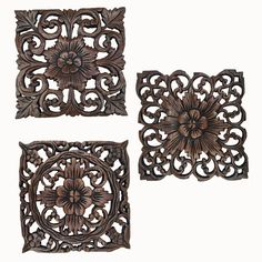 "Wood Carved Wall Plaque. Decorative Wood Panels. Rustic Wood Wall Decor. Dark Brown. Size 9.5"" Square Set of 3"