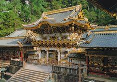 "Toshogu Shrine in Nikko, Japan. This shrine is famous for the 3 wise monkeys (san- zaru) and the sleeping cat ""nemuri- neko)"