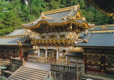 "Toshogu Shrine in Nikko, Japan. This shrine is famous for the 3 wise monkeys (san- zaru) and the sleeping cat ""nemuri- neko)"