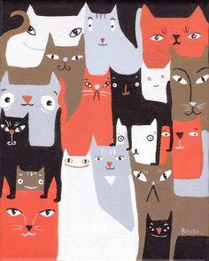 Sara Pulver — Many Cats Art Print (757x945)