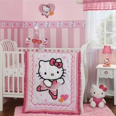 Sweet And Feminine Baby Girls Bedding Sets : Funny Pink Hello Kitty Baby Girls Bedding Set Inspiration Offering Cute Look in Hello Kitty The...