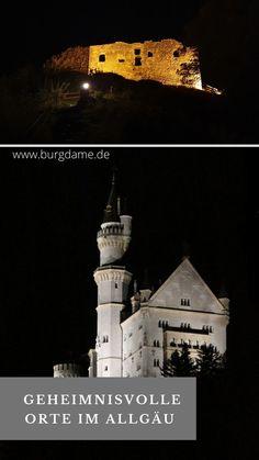 Das Schloss Neuschwanstein im Ostallgäu gehört zu den beliebtesten Sehenswürdigkeiten in Deutschland. Aber wisst Ihr auch, dass es in Neuschwanstein spukt? Hier zeige ich Euch geheimnisvolle Orte, , mystische Orte Kraftorte, alte Friedhöfe und Orte mit Sagen und Legenden aus dem Allgäu, im Bayern. #geheimnisvolleorte #allgäu #ostallgäu #schlosspark #bayern #neuschwanstein Fantasy, Movie Posters, Art, Europe, Old Cemeteries, Mysterious Places, Neuschwanstein Castle, Small Places, Art Background