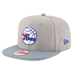 Men s Philadelphia 76ers New Era Heathered Gray Light Blue Action 9FIFTY  Original Fit Snapback Adjustable Hat 1b18625bde6e