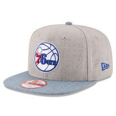 Men's Philadelphia 76ers New Era Heathered Gray/Light Blue Action 9FIFTY Original Fit Snapback Adjustable Hat