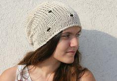 Hand Knit Hat  Beanie Hat  Cotton Hat  Womens by EllenaKnits, $27.00