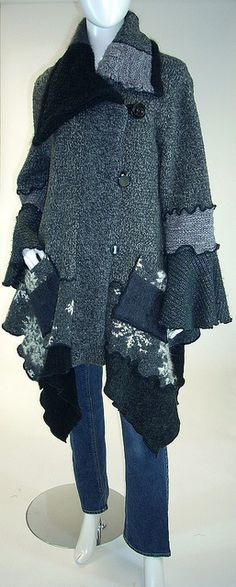 Sweater Coat, Grey and Black Tweed, Snowflake, Petunia Style, Size Medium- Large… Warm Sweaters, Sweater Coats, Recycled Sweaters, Sweater Refashion, Altered Couture, Mode Inspiration, Color Inspiration, Diy Clothing, Lana
