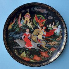 Lomonosov Porcelain Palekh Lacquer Russian Folk Fairy Tale Firebird Deco Plate 2 | eBay